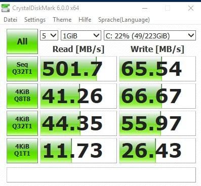 Crystal Diskmark lokale SSD